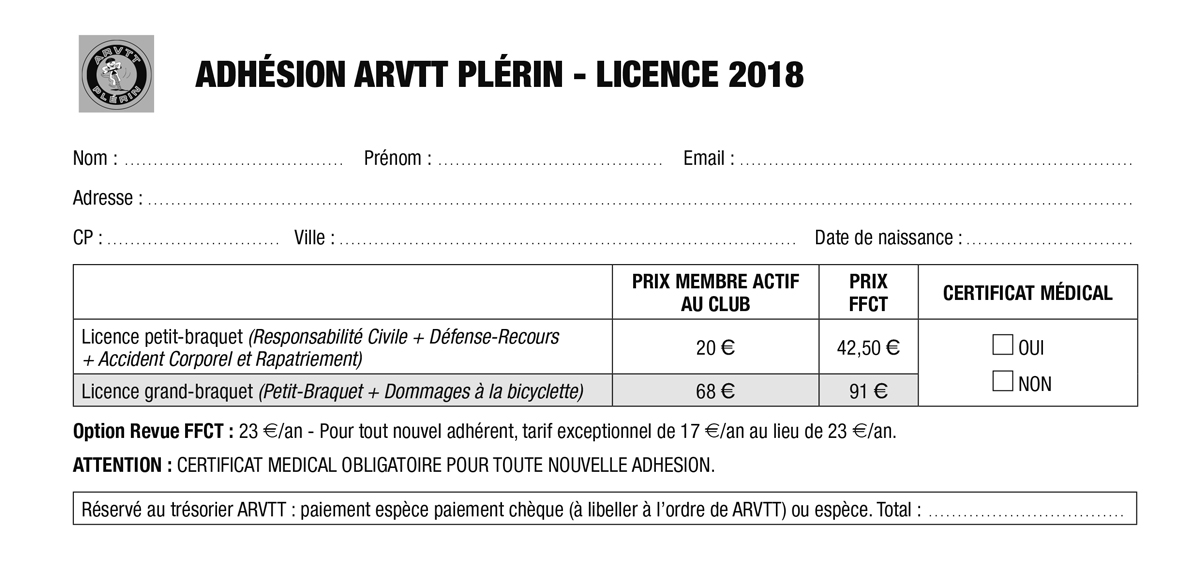 formulaire licence 2018